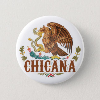 Chicana Mexico Coat of Arms Pinback Button