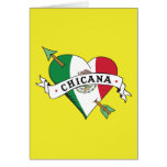 Chicana Tattoo Heart with Mexican Flag Card