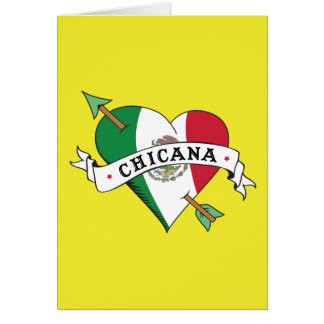 Chicana Tattoo Heart with Mexican Flag Greeting Card
