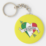 Chicana Tattoo Heart with Mexican Flag Key Chains