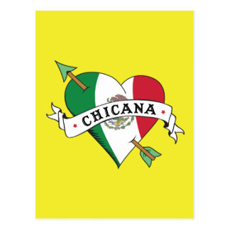Chicana Tattoo Heart with Mexican Flag Postcard