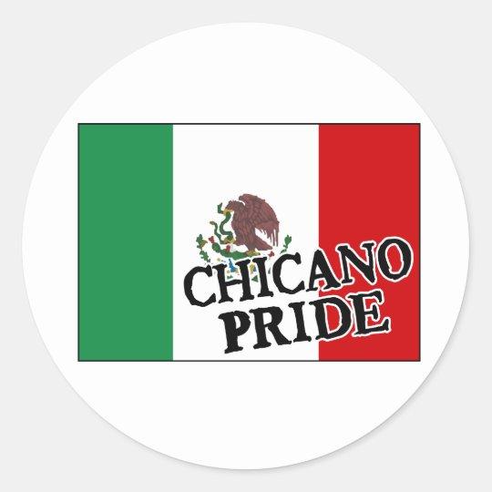 Chicano Pride Mexican Flag Classic Round Sticker