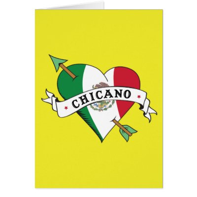 Chicano Tattoo Heart with Mexican Flag Card by LatinaTees