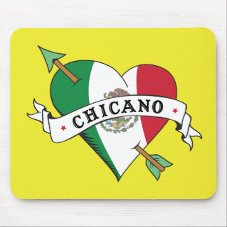 Chicano Tattoo Heart with Mexican Flag Mousepads