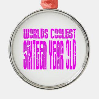Chicas 16 años más frescos de los mundos de los adorno navideño redondo de metal