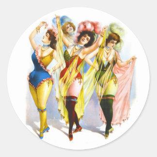 Chicas 1899 de baile pegatina redonda