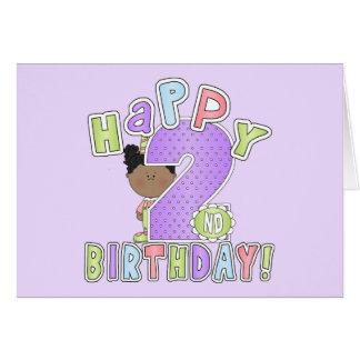 Chicas 2do cumpleaños, afroamericano tarjeta de felicitación