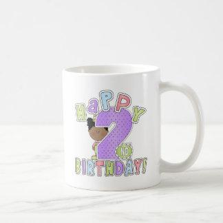 Chicas 2do cumpleaños feliz, afroamericano taza clásica