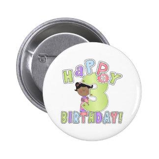 Chicas 3ro cumpleaños feliz, afroamericano pin