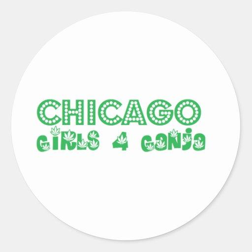 Chicas 4 Ganja de Chicago Pegatina Redonda