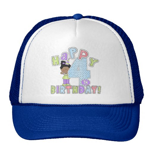 Chicas 4to cumpleaños feliz, afroamericano gorras