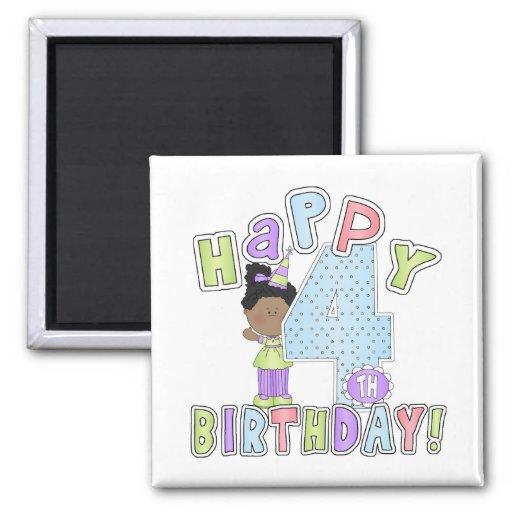 Chicas 4to cumpleaños feliz, afroamericano iman de frigorífico