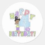 Chicas 4to cumpleaños feliz, afroamericano etiquetas redondas