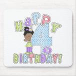 Chicas 4to cumpleaños feliz, afroamericano alfombrilla de ratones