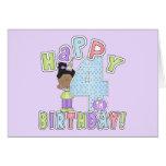 Chicas 4to cumpleaños feliz, afroamericano tarjeton