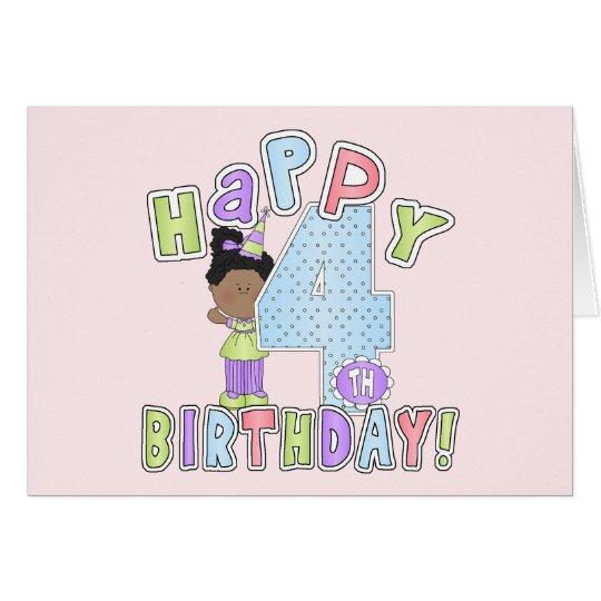 Chicas 4to cumpleaños feliz, afroamericano tarjeta de felicitación