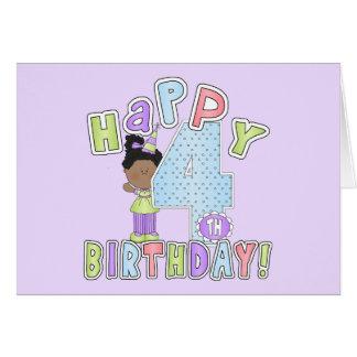 Chicas 4to cumpleaños feliz afroamericano tarjeton