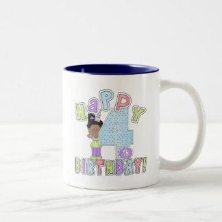 Chicas 4to cumpleaños feliz, afroamericano taza dos tonos