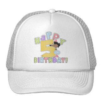 Chicas 5to cumpleaños feliz, afroamericano gorra