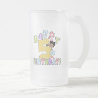 Chicas 5to cumpleaños feliz, afroamericano taza de cristal