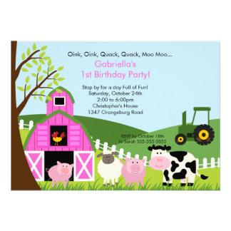 Chicas animales del rosa de la fiesta de cumpleaño comunicados personales