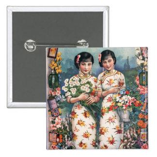 Chicas asiáticos del anuncio del kitsch del pin cuadrado