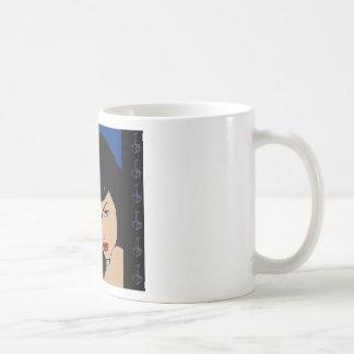 Chicas azules del malo del eje de balancín taza de café