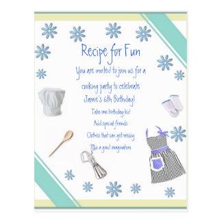 Chicas azules que cocinan la postal de la invitaci