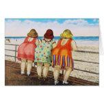 Chicas basados gordos del vintage en la playa tarjeta pequeña