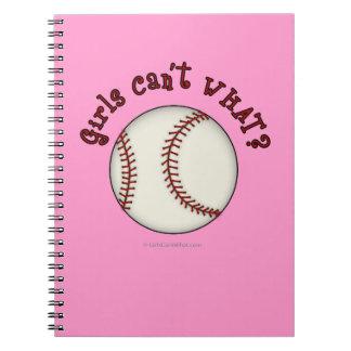 Chicas Béisbol-Rojos Libros De Apuntes
