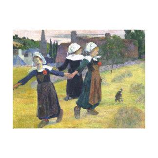 Chicas bretones que bailan la pintura del vintage lienzo envuelto para galerías