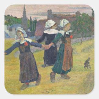 Chicas bretones que bailan, Pont-Aven, 1888 Pegatina Cuadrada