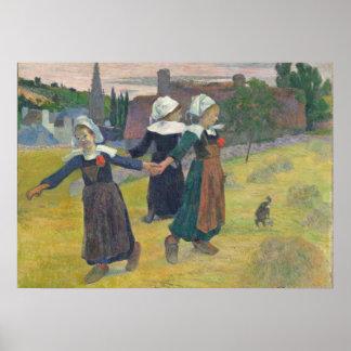 Chicas bretones que bailan, Pont-Aven, 1888 Póster