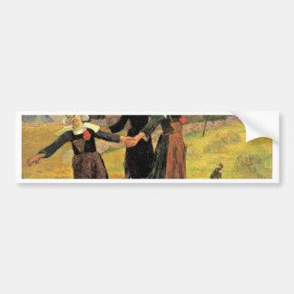 Chicas bretones que bailan Pont-Aven de Paul Gaugu Pegatina De Parachoque