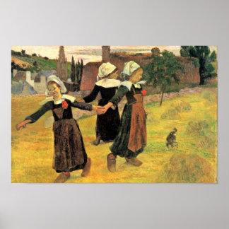 Chicas bretones que bailan Pont-Aven de Paul Gaugu Póster