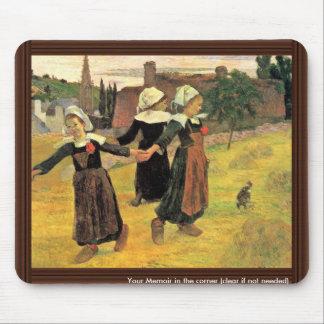 Chicas bretones que bailan Pont-Aven de Paul Gaugu Tapete De Ratones