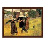 Chicas bretones que bailan Pont-Aven de Paul Gaugu Tarjeta Postal