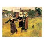 Chicas bretones que bailan Pont-Aven de Paul Gaugu Tarjetas Postales