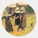 Chicas bretones que bailan Pont-Aven de Paul Pegatinas Redondas