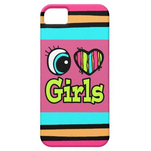 Chicas brillantes del amor del corazón I del ojo Funda Para iPhone 5 Barely There