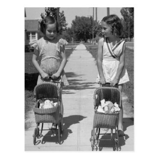 Chicas con Dolls, 1941 Tarjeta Postal