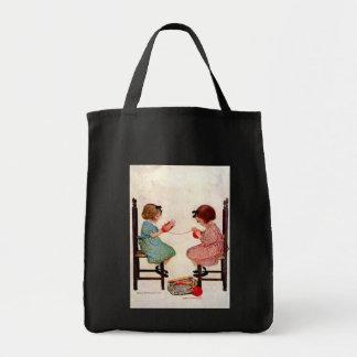 Chicas con el hilado - bolso bolsa tela para la compra