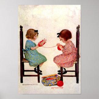 Chicas con el hilado - impresión póster