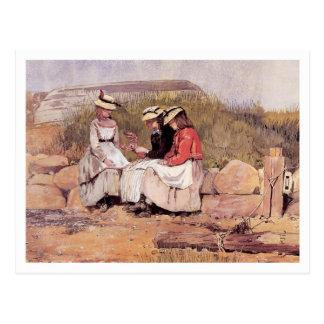 Chicas con la langosta de Winslow Homer Tarjetas Postales