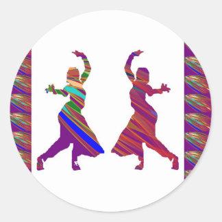 Chicas de BAILE:  Danza del estilo de Bollywood Pegatina Redonda