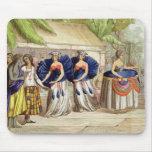 Chicas de baile polinesios, grabados por A. Bernat Alfombrilla De Raton