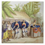 Chicas de baile polinesios, grabados por A. Bernat Azulejo Cuadrado Grande
