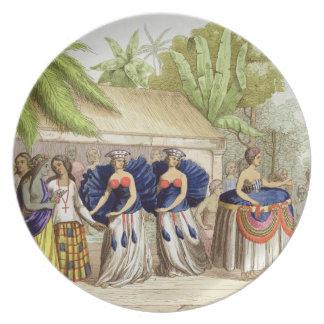 Chicas de baile polinesios, grabados por A. Bernat Platos