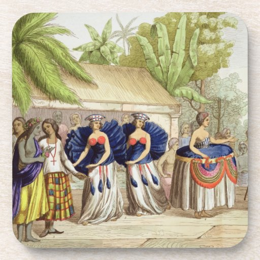 Chicas de baile polinesios, grabados por A. Bernat Posavasos