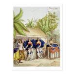 Chicas de baile polinesios, grabados por A. Bernat Tarjeta Postal